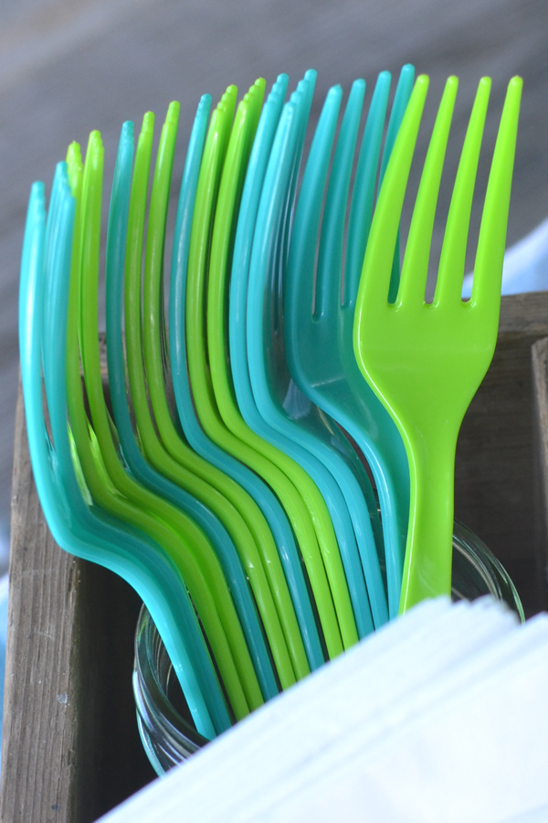 Teal Lagoon and Fresh Lime Plastic Party Forks