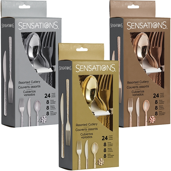 Cutlery sets containing hammered-finish metallic plastic forks, spoons, and knives