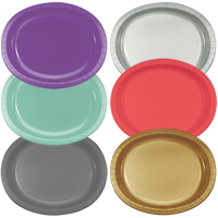 Oval Paper Plates in assorted color options, including Amethyst, Fresh Mint, Glamour Gray, Glittering Gold, Coral and Shimmering Silver.