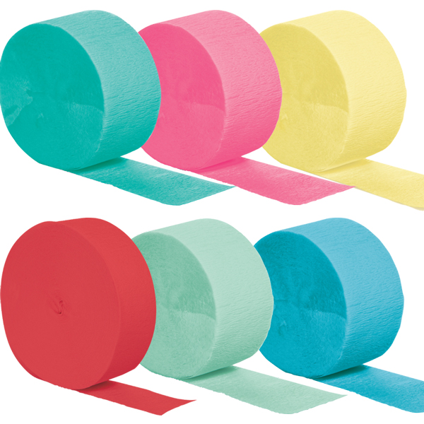 Crepe Paper Streamers available in 25 different color options.