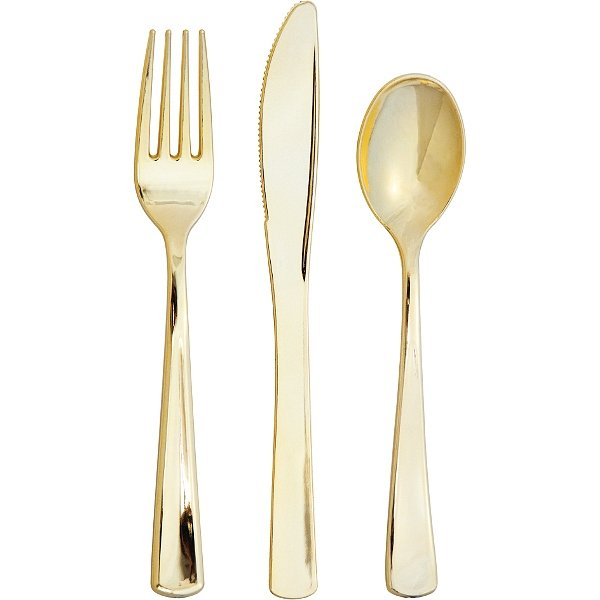 Metallic Gold cutlery sets containing plastic forks, spoons, and knives