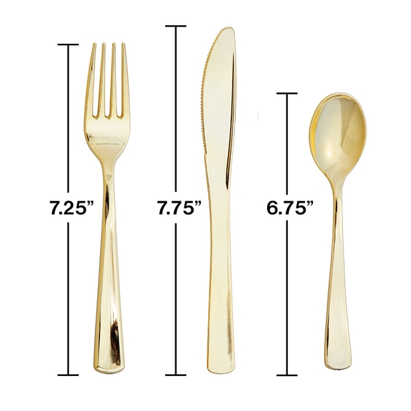 Measurements of the forks, knives, and spoons included in each metallic cutlery set