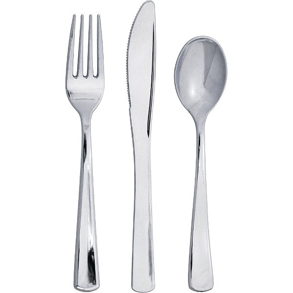 Metallic Silver cutlery sets containing plastic forks, spoons, and knives