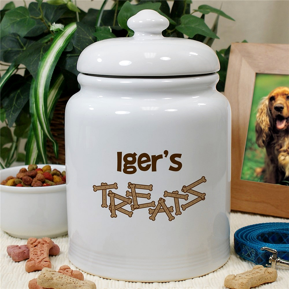 White ceramic dog treats jar personalized with 'TREATS' message and pet's name
