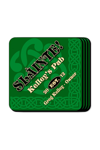 Personalized Slainte Green Irish Themed Coasters
