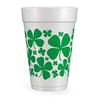 Scattered Shamrocks 16 Oz Styrofoam Party Cups