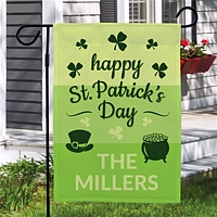 Happy St. Patrick's Day garden flag personalized with family name for Saint Patty's Day garden and yard decoration