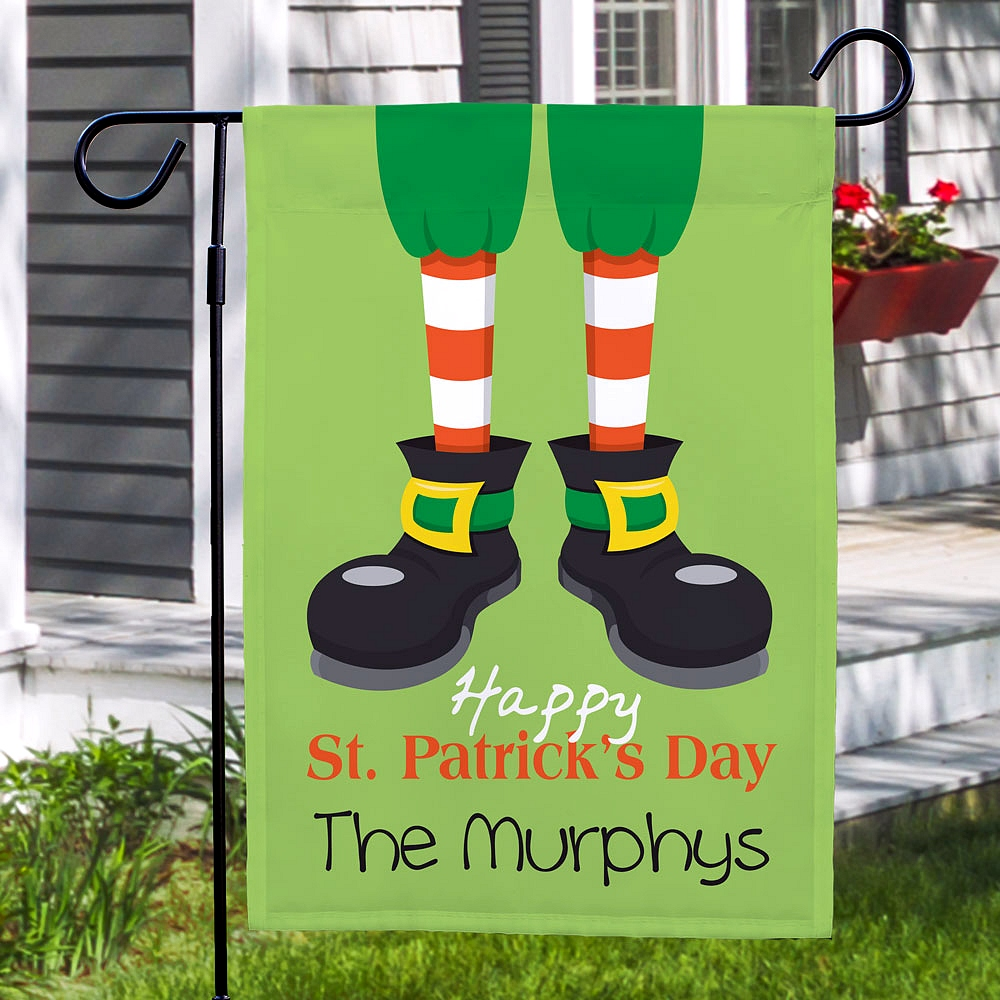 Happy St. Patrick's Day leprechaun feet garden flag personalized with family name for Saint Patty's Day garden and yard decoration