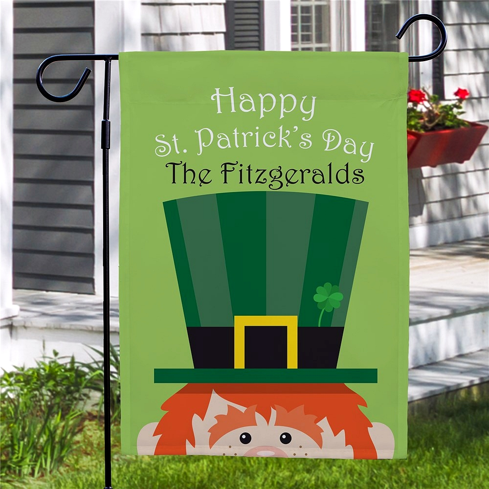 Happy St. Patrick's Day leprechaun garden flag personalized with family name for Saint Patty's Day garden and yard decoration