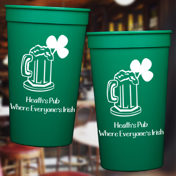 Personalized St. Patrick's Day Plastic Stadium Cups
