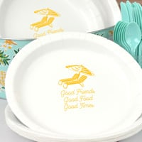 Personalized White summer pool party sturdy paper plates with Yellow imprint color, design SUM131, and text in Garris lettering style