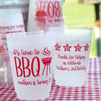 16 Ounce Frosted Plastic Cups with Dark Red imprint, SUM102 and SUM109 designs on the front and back, and text in Girlfriend lettering style