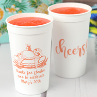 Personalized summer pool party souvenir stadium cups, White with Coral imprint, custom printed with designs SUM128 and WCH04 and text in Sugar Plum lettering style