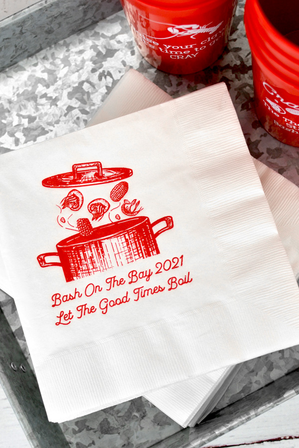 Personalized 3-Ply Luncheon Napkins in White with Dark Red – 1797C imprint, Garris lettering style, and SUM110 design