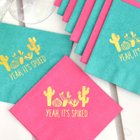 Custom printed Magenta and Teal 3-Ply Luncheon Napkins with Gold imprint, personalized with SUM140 design and one lines of text in all caps in Quick lettering style