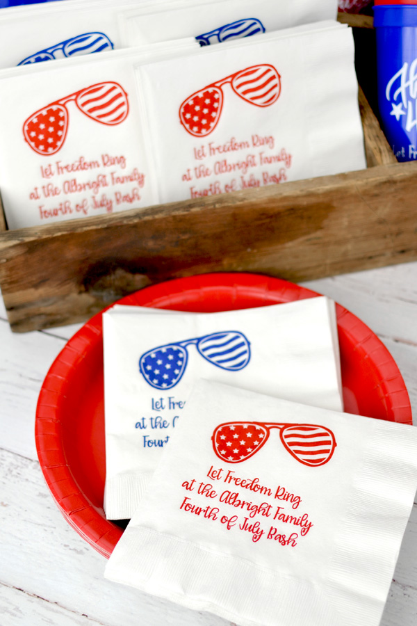 Personalized White Luncheon Napkins with Royal Blue and Dark Red imprint colors, Design SUM147, and text in Girlfriend lettering style