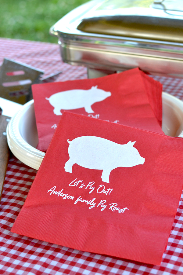 Personalized Red 3-Ply Luncheon Napkins with White imprint, custom printed with SUM107 design and two lines of text in Radiant Beauty lettering style