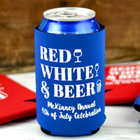 Custom Printed Red and Blue Neoprene Can Koozies with White Imprint, designs SUM141 and SUM144, and text in Sugar Plum lettering style