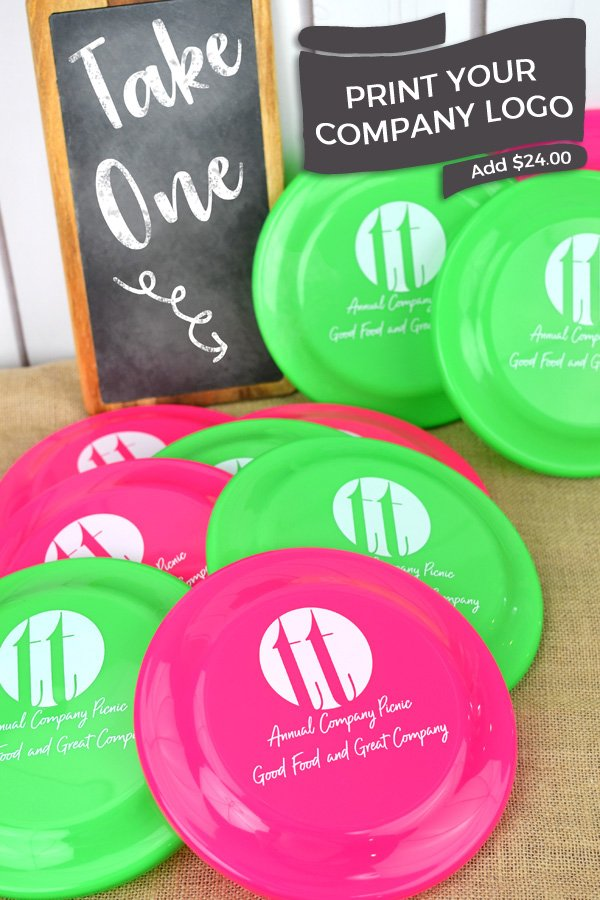Personalized flying discs with custom company logo and two lines of print