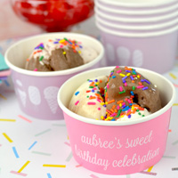 Personalized paper treat cups in Lavender, Robins Egg, and Pink with White imprint color, Lovable lettering style, and design SUM113