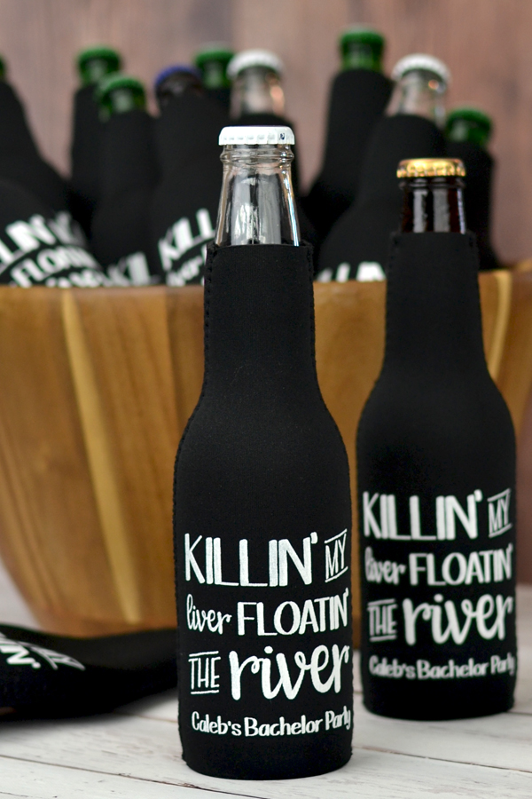 Custom printed Black bottle coolers personalized with design SUM124, lettering style Goodbye, and White imprint color