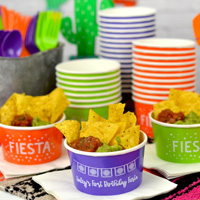 Custom printed paper treat chip and salsa cups in Purple, Orange, and Kiwi, personalized with designs SUM137 and SUM135, lettering style Girlfriend, and White imprint color