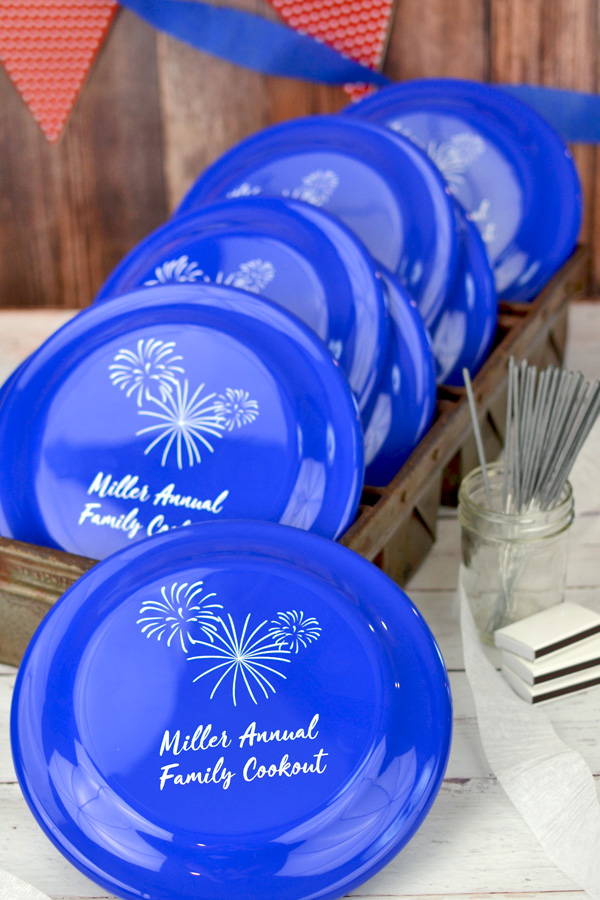 Custom printed Blue frisbee with white imprint for patriotic summer party with Crushine lettering style and design SUM143