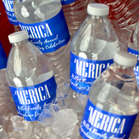 Custom printed patriotic themed water bottle labels in Royal Blue – 2728C with White imprint color, Crushine lettering style, and design SUM148 'Merica and two lines of text