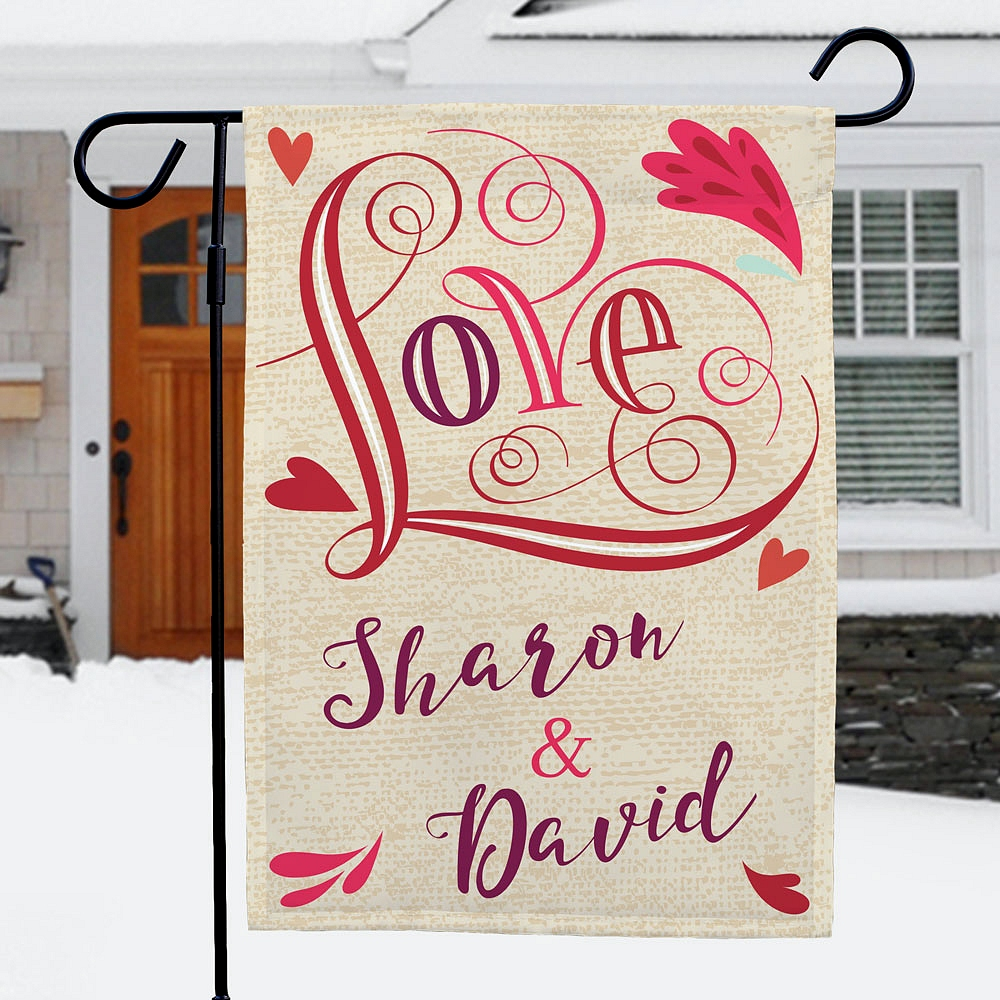 Scroll design 'Love' garden flag personalized with couple's first names for Valentine's Day, engagement or wedding lawn and garden decoration