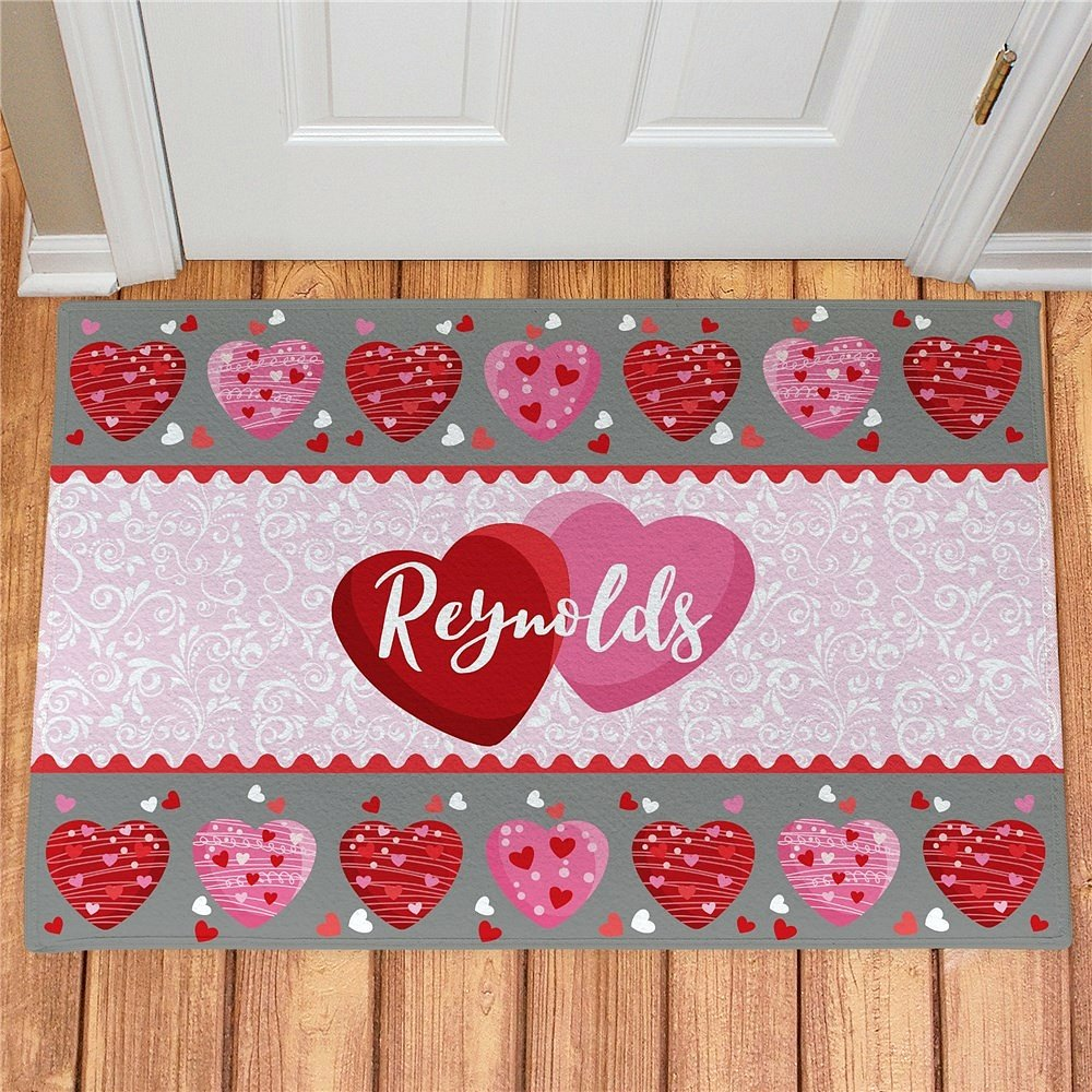 Personalized Valentines Day Doormat with Family Hearts