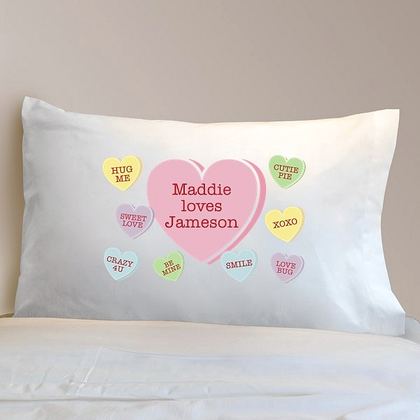 Personalized Valentine Pillowcase With Conversation Hearts