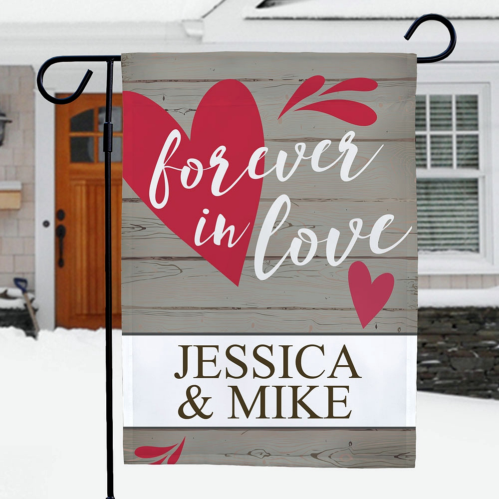 Forever In Love garden flag personalized with couple's first names for Valentine's Day, engagement, anniversary or wedding lawn and garden decoration