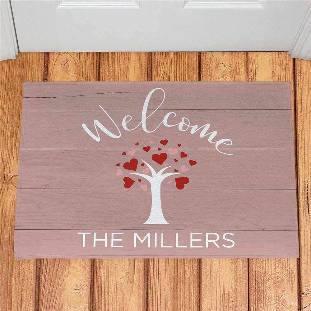 Tree full of hearts doormat personalized with 'Welcome' message and family name