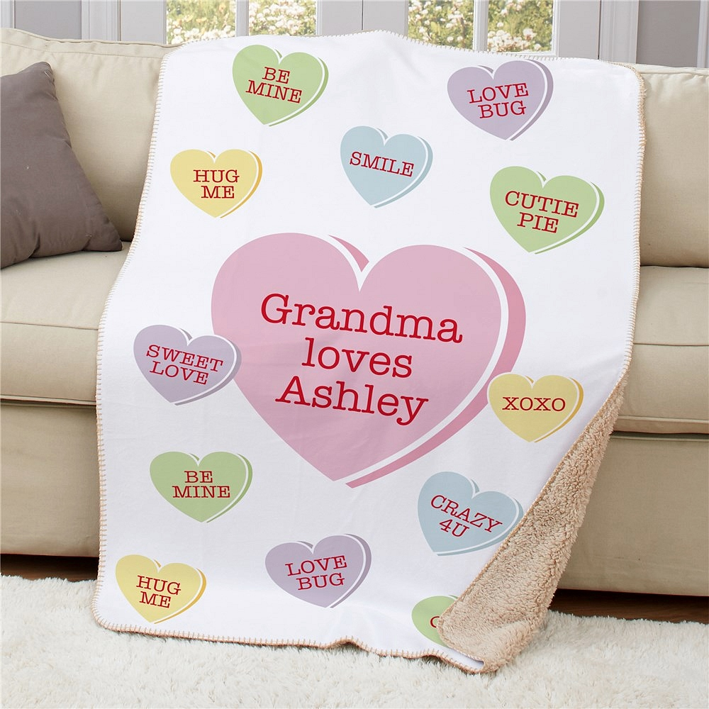 Sherpa throw blanket personalized with Valentine conversation hearts and 3 lines of custom print