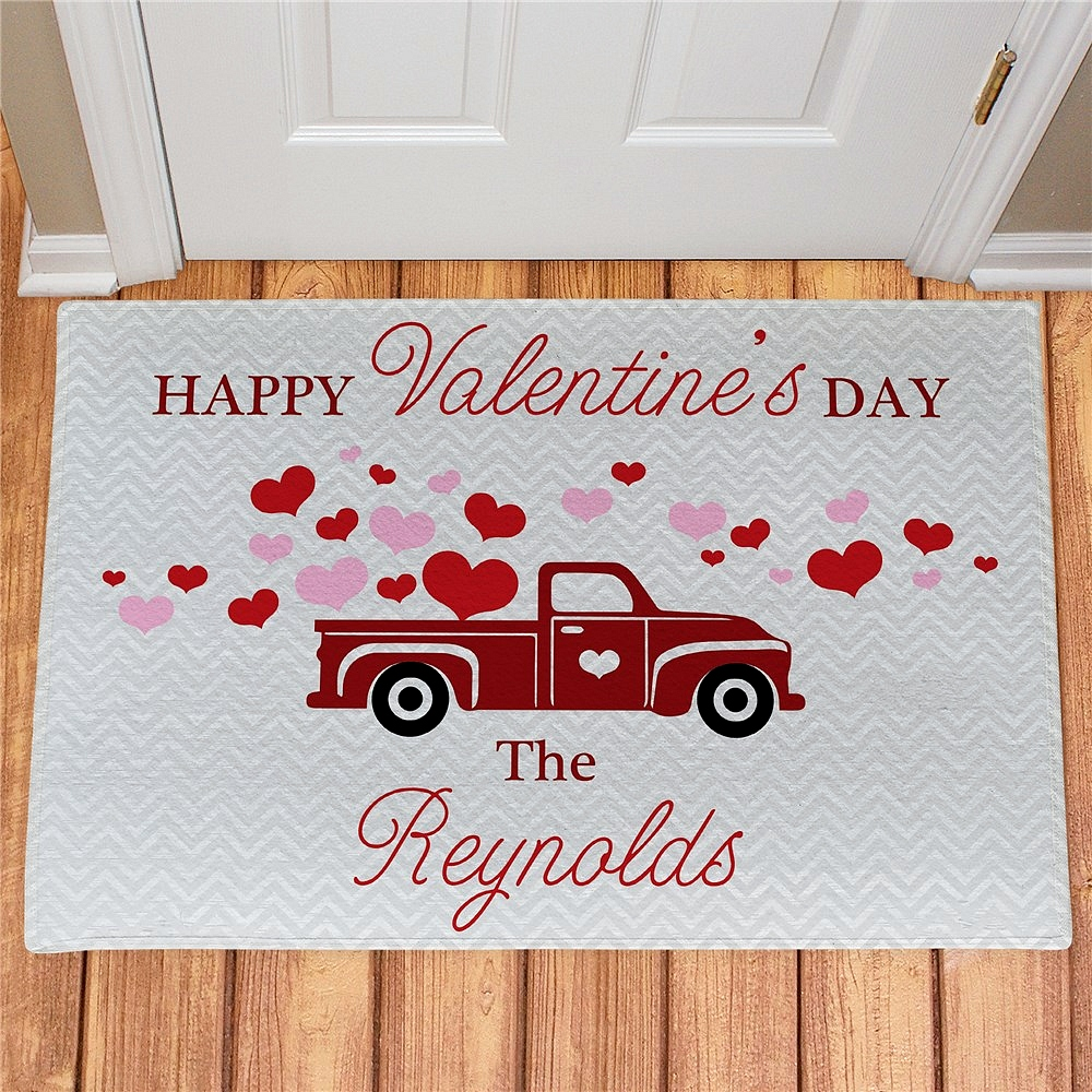 Happy Valentine's Day welcome door mat displaying vintage pickup truck carrying pink and red hearts personalized with family name